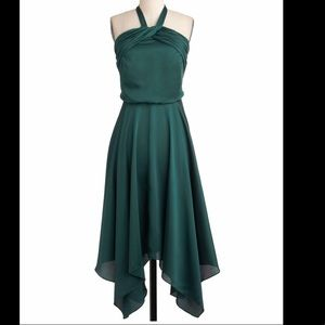 Spruce or dare halter green silk dress